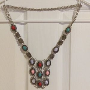 Jewelry - Vintage Silver & Cabochon Beaded Necklace